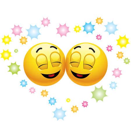 clin d oeil: Souriant balles heureux en amour