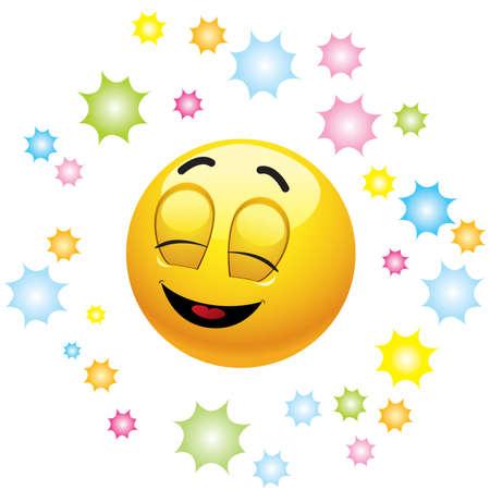 smiley content: Souriant balles, exprimant la joie Illustration