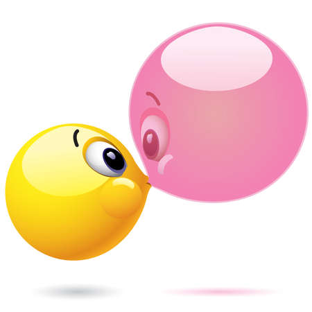 blowing bubbles: Smiling balls, expressing joy