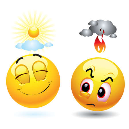 Sonriendo bolas expresar mal humor Ilustración de vector