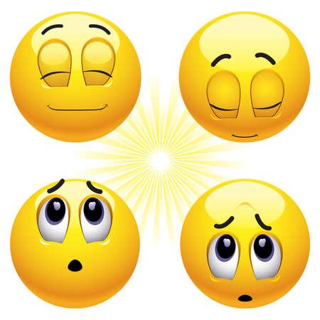 Glimlachende ballen bidden op verschillende manieren