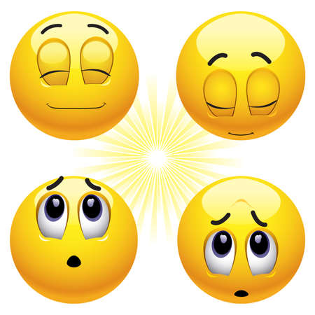 happy emoticon: Smiling balls praying in different ways