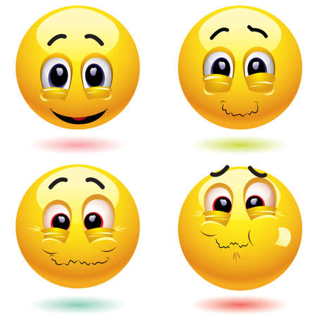 Smiling balls with different sarcastic face expressions Illustration