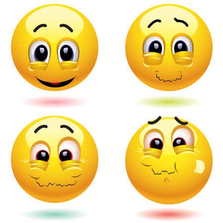 sarc�stico: Sonriendo bolas sarc�stica cara con diferentes expresiones Vectores