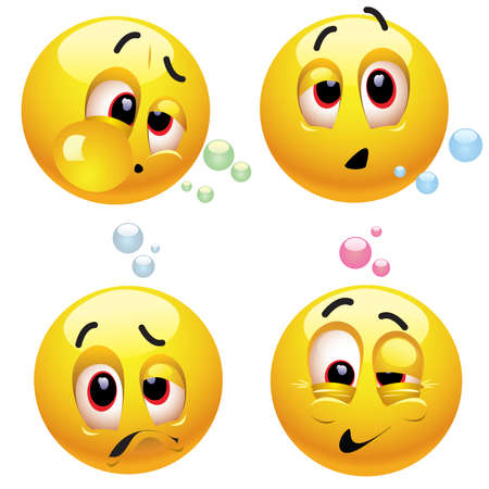 alcoholist: Smiling ballen met verschillende dronken gezicht expressies