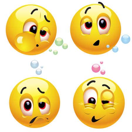 borracha: Sonriendo bolas borracho cara con diferentes expresiones Vectores