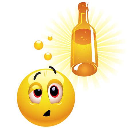 alcoholismo: Borracho sonriente bola imagino botella Vectores