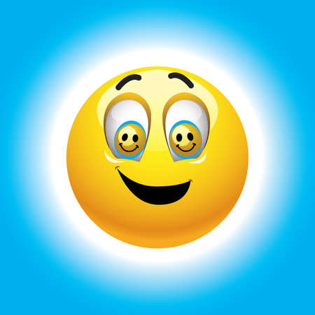 Smiling ball with smileys in eyes Vector