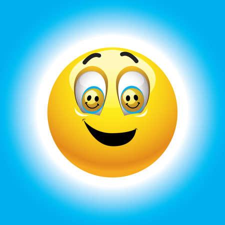 visage peint: Souriant balle dans les yeux avec les smileys Illustration