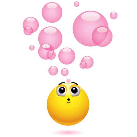 goma de mascar: Smiling bola soplando burbujas Vectores