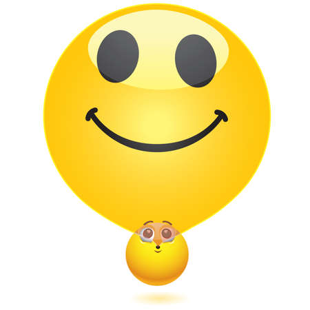 Smiling ball blowing smiley balloon Vector