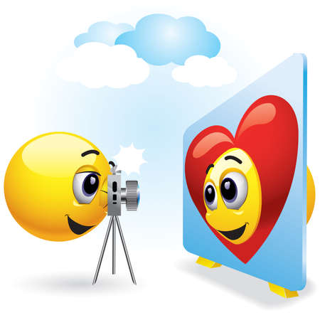 photography logo: Smiling balls taking photographs