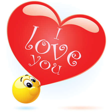 Smiling ball blowing I love you balloon Illustration