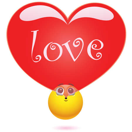 Smiling ball blowing love balloon