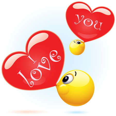 Smiling ball blowing I love you balloon Vector