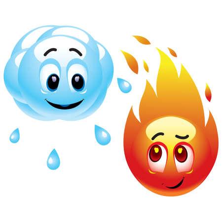 vapor: Smiling balls representing raining cloud and fire  Illustration