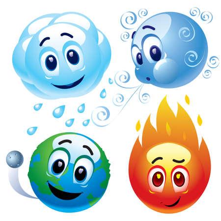 spunk: Sonriendo bolas que representan los elementos naturales de agua, viento, tierra y fuego Vectores