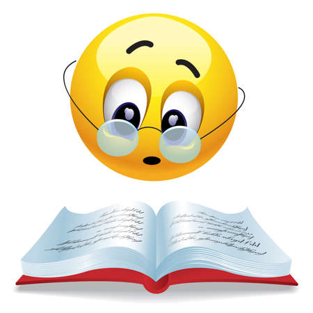 focusing: Smiling ball reading book with glasses