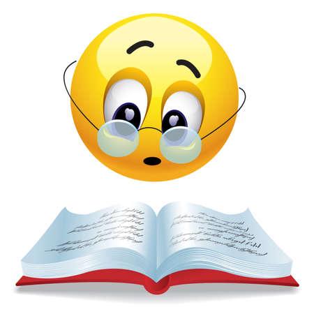 Sonriendo pelota con gafas de lectura de libros