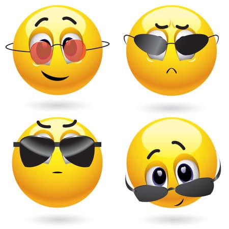 Smiling bal dragen van een bril cool