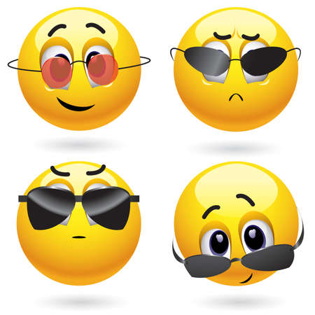 Smiling ball wearing cool glasses Vector