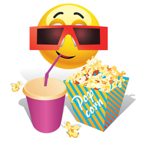 Smiling ball watching movie in cinema Vector