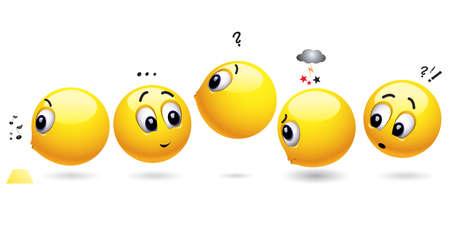 fila de espera: Smiling bolas de espera en una fila Vectores