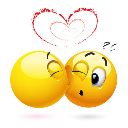 Smiling ball kissing another smiling ball Stock Vector - 4798264