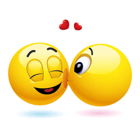Lächelnd Ball küssen einen anderen lächelnde ball