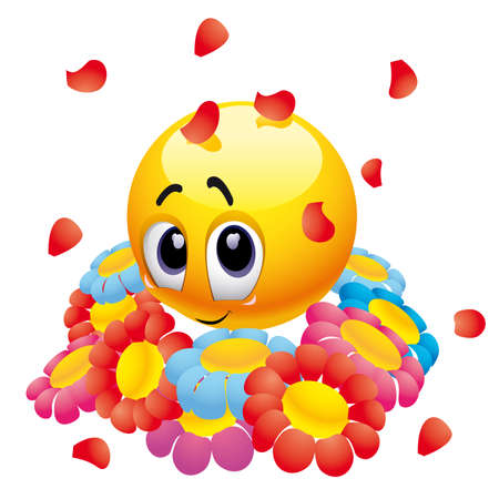 blushing: Attracted smiley ball with flowers Illustration