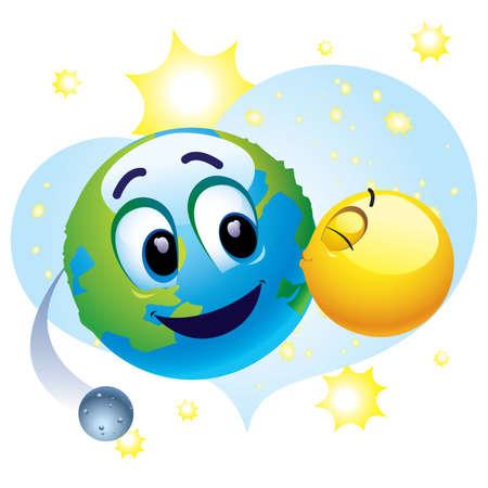 contaminacion del agua: Teniendo cuidado de bola sonriente sobre la Tierra