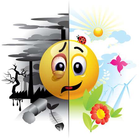 Smiley-Ball eine Nachricht über die Umweltverschmutzung