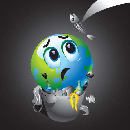 warming: Smiling ball as Earth in trash can