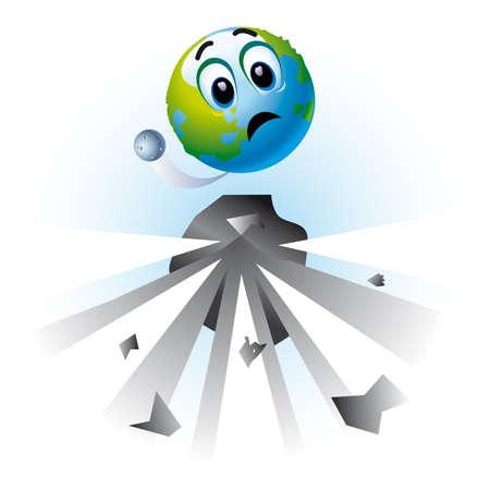 apprehension: Smiling ball as Earth in danger