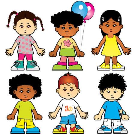 Seis chicas y chicos lindos personajes