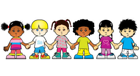 Children of the world holding hands Stock Vector - 5416090