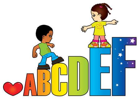 Los niños aprenden las letras del alfabeto Ilustración de vector