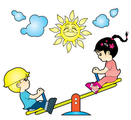 children playing: Children are playing on the playground Illustration