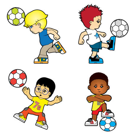 Four boys are playing football