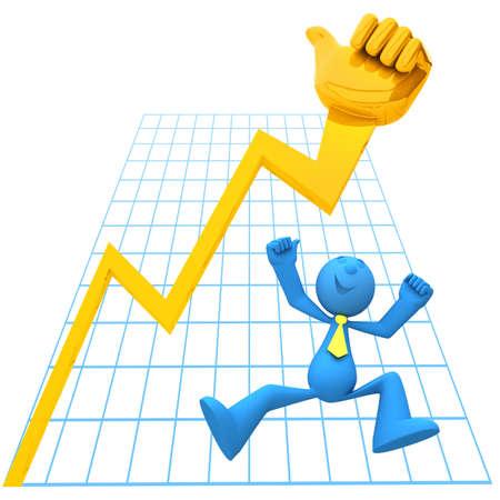 financial leadership: Empresario ser feliz porque su �xito empresarial Foto de archivo