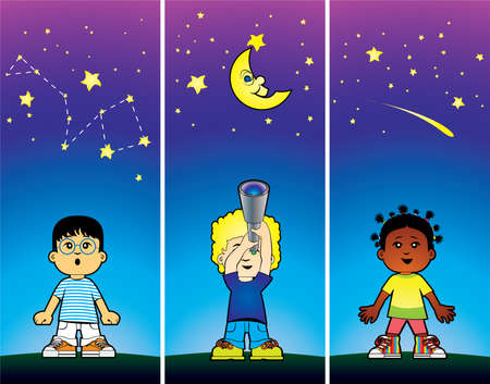 exploring: Children looking at the stars