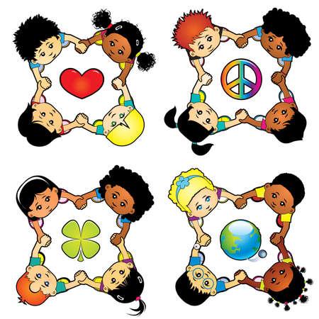 hispanic boys: Children of the world sending message Illustration