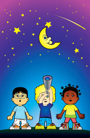 Children looking at the stars Stock Vector - 5483730
