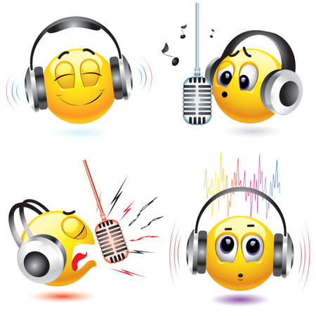 smiling balls listening to different kind of music Vector