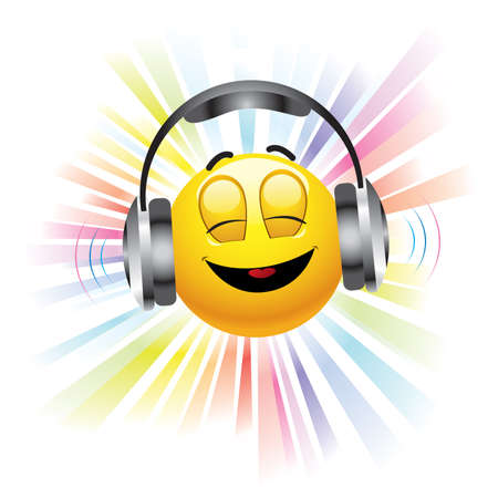 smiling ball listening to music Vector