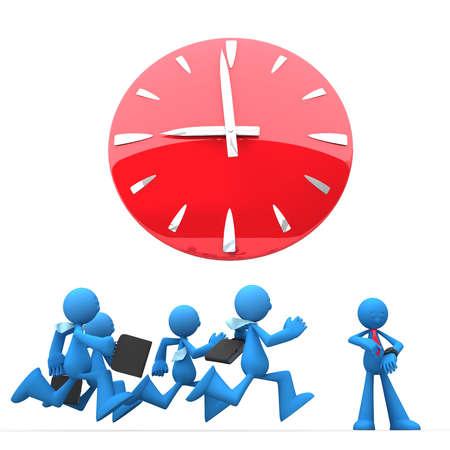 gestion del tiempo: Empresarios con corbata y malet�n yardas por tierra para trabajar