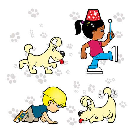 Bambino sta giocando con il cucciolo