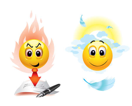 heaven and hell: Good and evil smiley balls