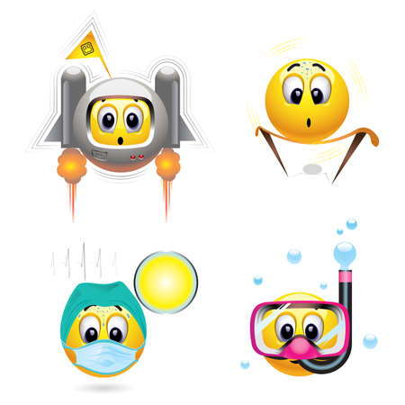 Smiley balls with different occupation Stock Vector - 5636611