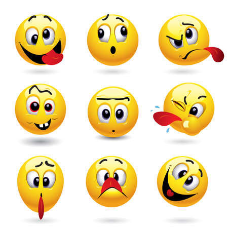 Smiley balls showing funny face Vector
